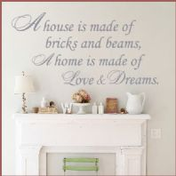 A HOME IS MADE OF LOVE AND DREAMS WORD FAMILY ART ~ Wall sticker / decals